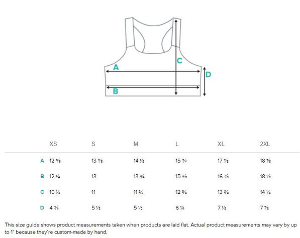 Size guide measurements Womens all over