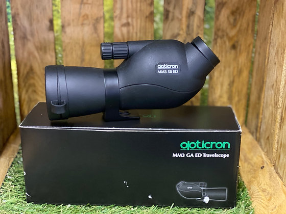 Pre-Loved Opticron MM3 50 ED angled boxed in excellent condition