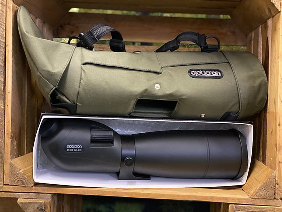 Pre-Loved Opticron ES 80mm ED angled scope and green stay on case in excellent