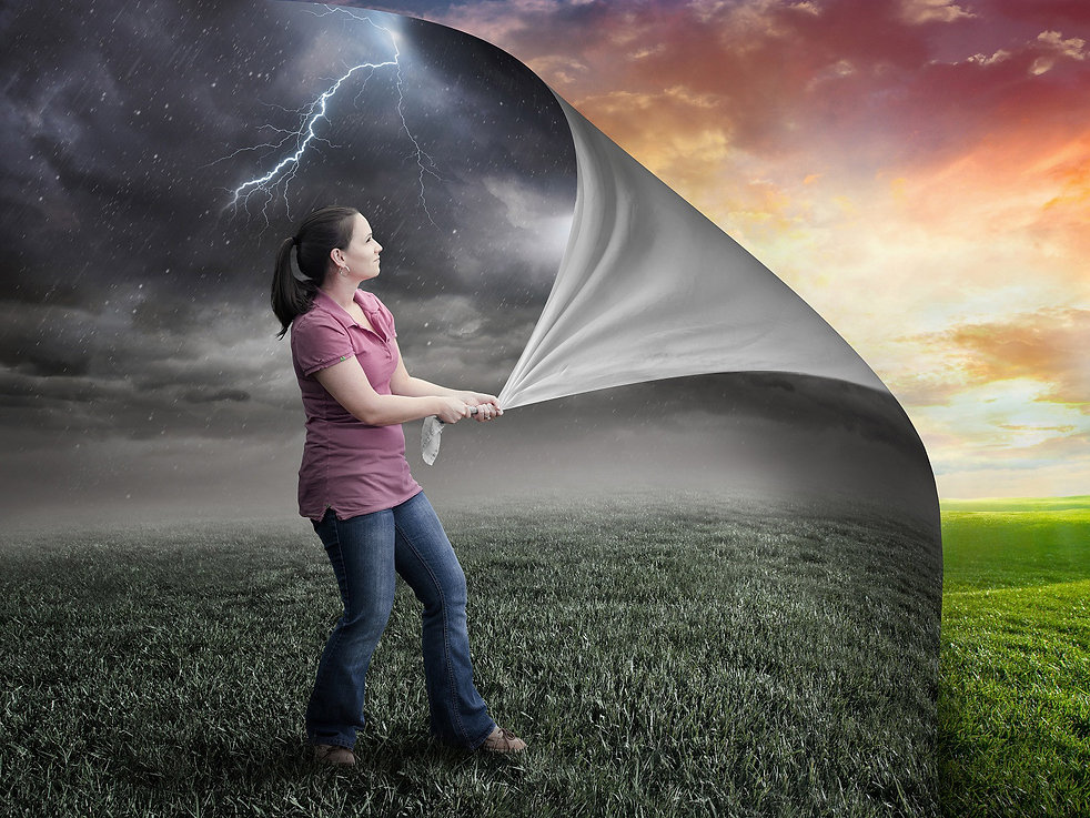 BNBProject_landing_image.jpg. Shows a woman in a grey world pulling back the sky like a curtain to show a beautiful world behind. The sun is shining.