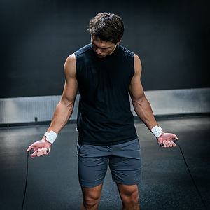 Man improving workout with cooling cuff
