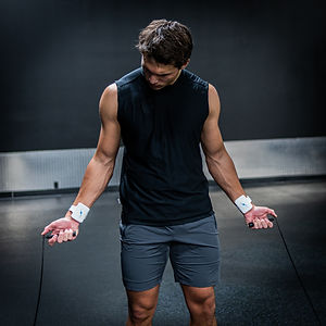 man working out and sweating