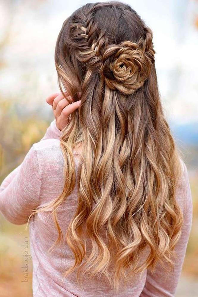 rose braid half up half down wedding hair