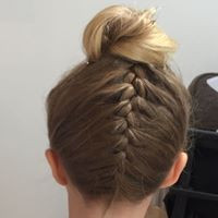 Cute bridesmaid up do french plait fishtail braid