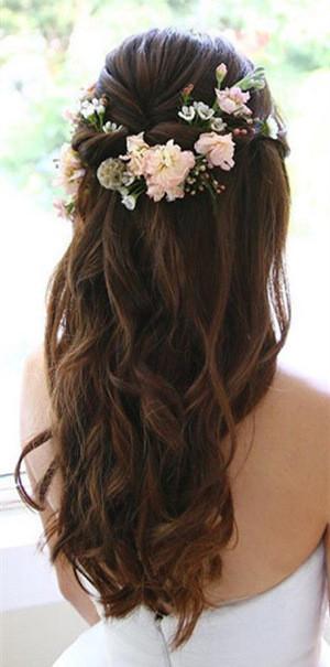 half up half down wedding hair romantic feminine fresh flowers