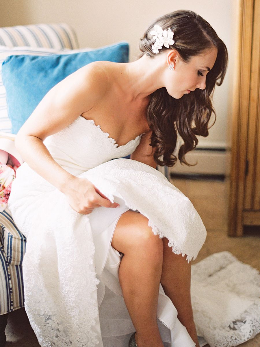 side swept wedding hair with flowers