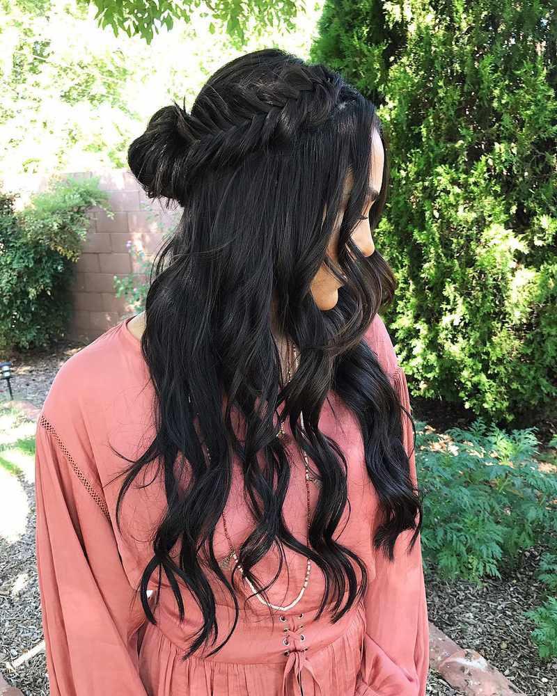 waterfall fishtail braid half up half down wedding hair