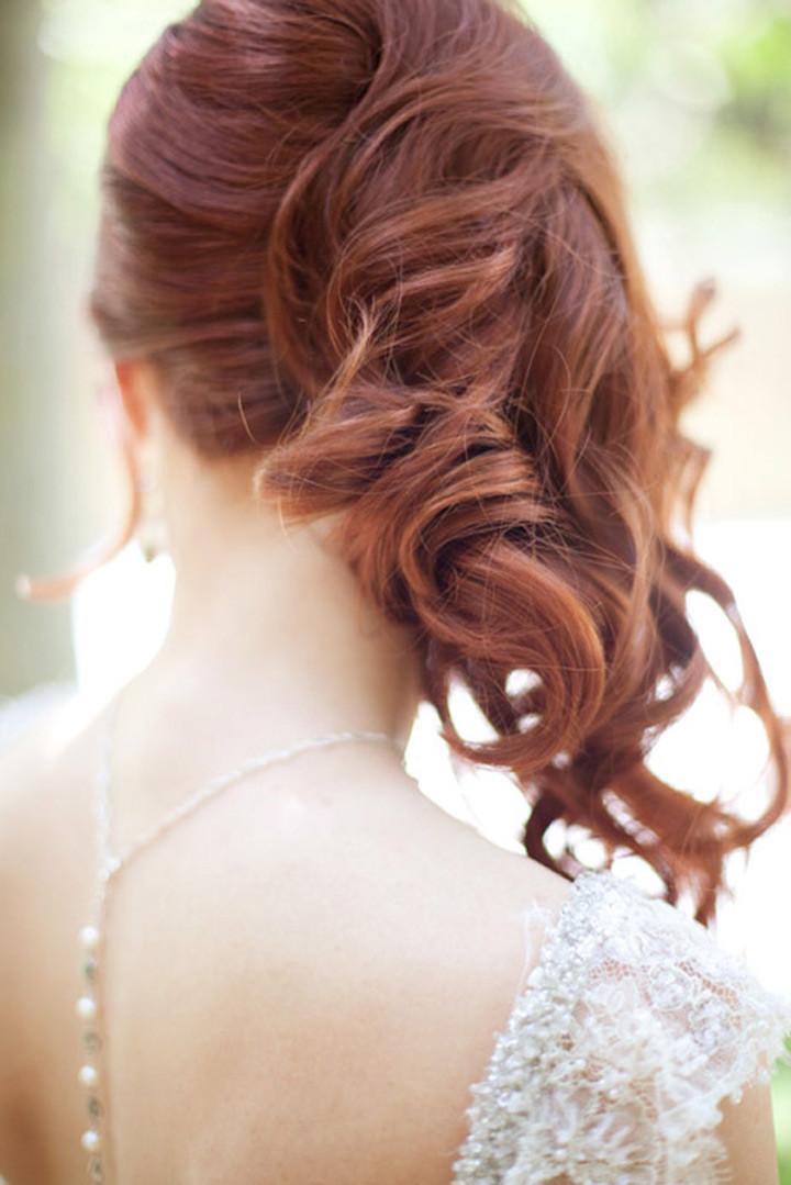 side sweep hair over shoulder wedding hair