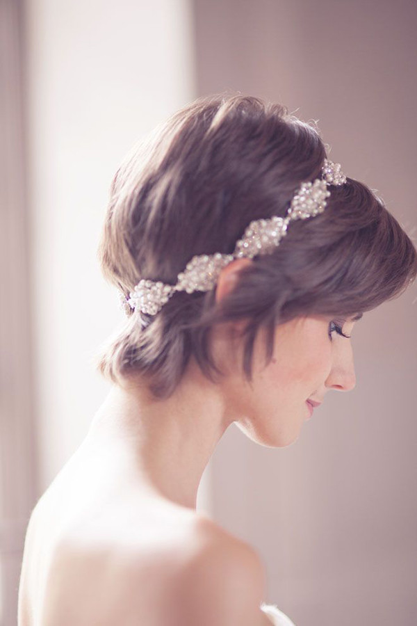 grown out pixie cut wedding hair jewel hairband