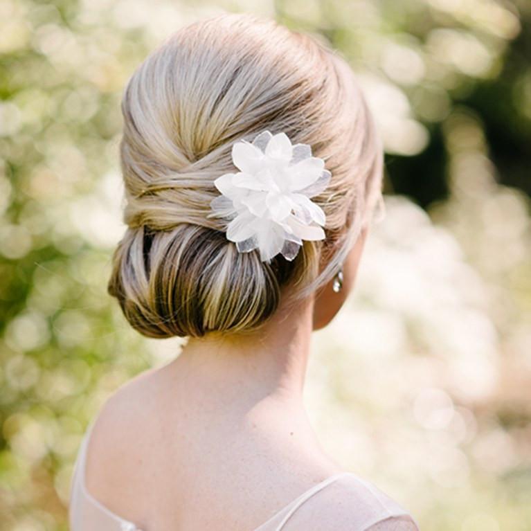 sleek chignon classic wedding hairstyle
