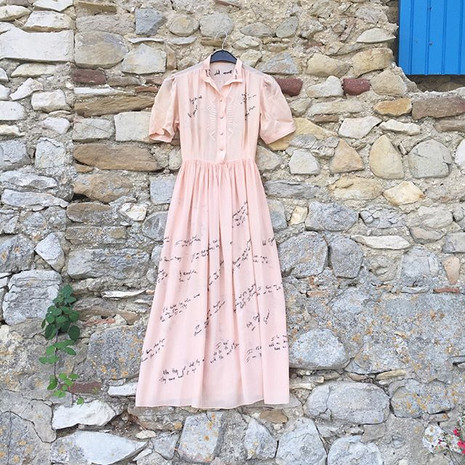 "Vintage silk dress ""Quotes"""