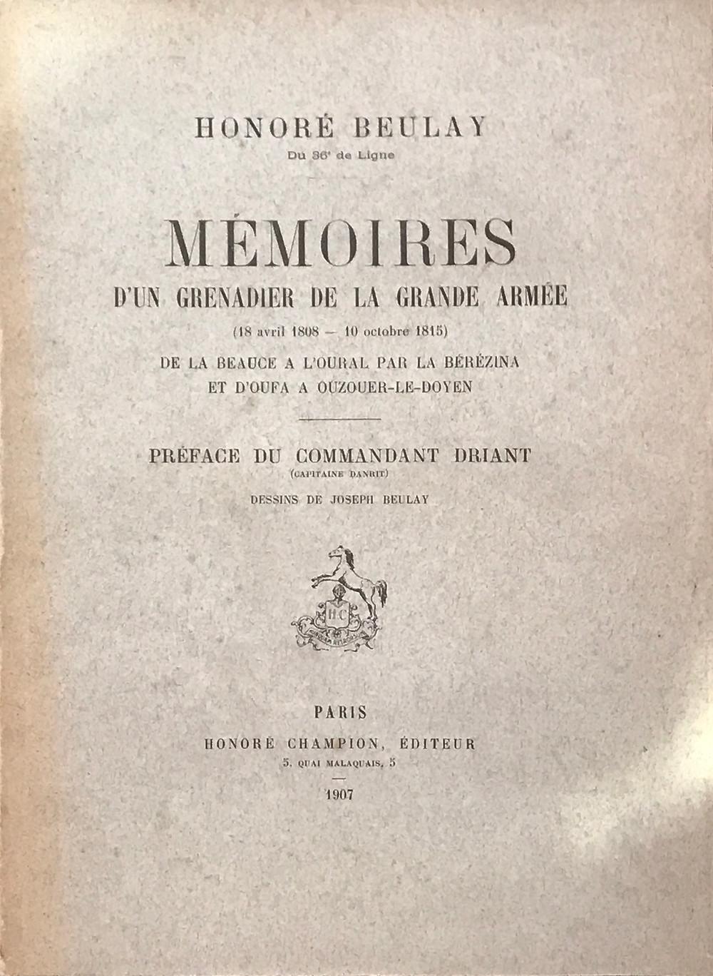 Edition originale des Mémoires d'Honoré Beulay