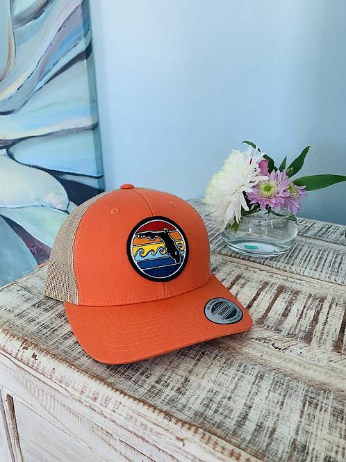 Florida Sunset Yupoong Trucker Hat - Orange
