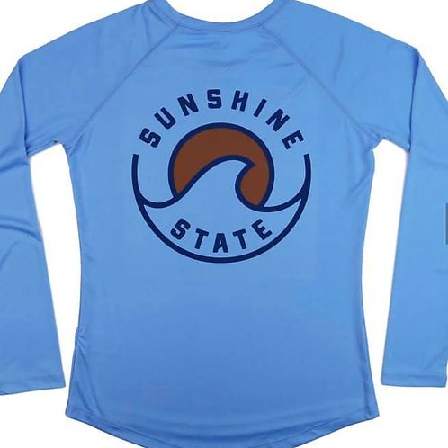 Wave Long Sleeve Ladies Solar Shirt - Columbia Blue