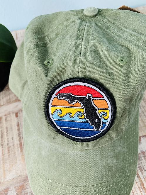 FL Sunset Unstructured Hat - Army Green