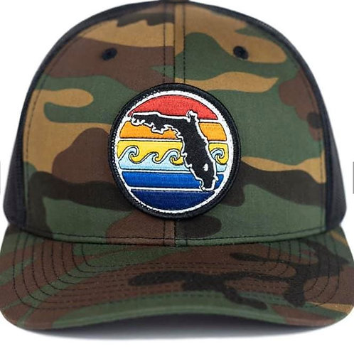 Florida Sunset Yupoong Trucker Hat - Camo