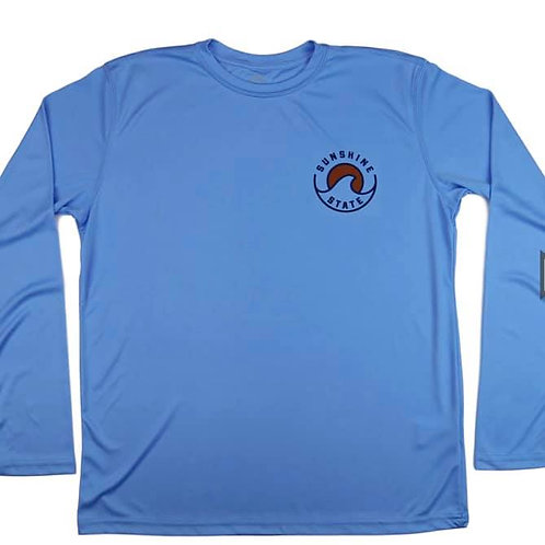 Wave Men's Long Sleeve Solar Shirt - Columbia Blue