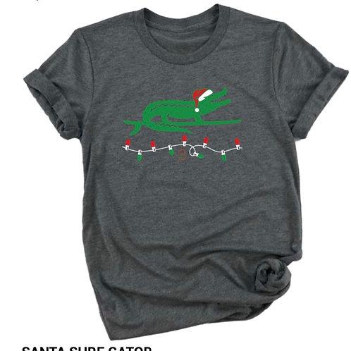 Santa Surf Gator Short Sleeve tee