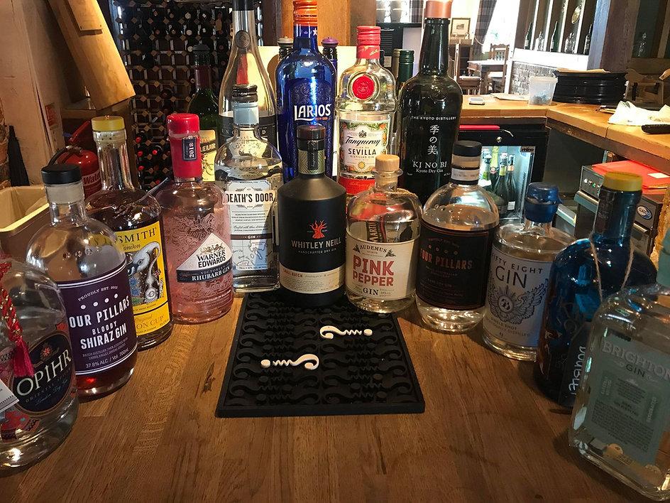 The Crown Inn Horsted Keynes Gin Selection