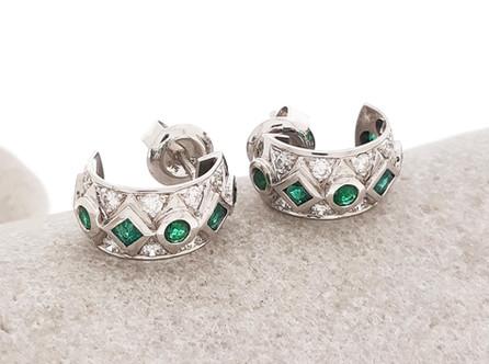 Emerald Huggie Earrings