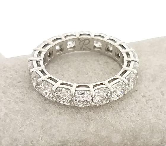 Platinum Cushion Cut Diamond Ring