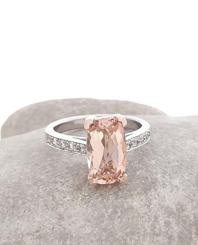 Morganite stone, Rose & White Gold Ring