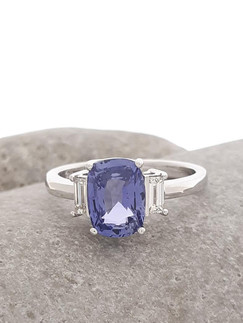 Platinum, Blue Sapphire Diamond Ring