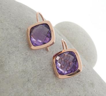 Rose Gold Amethyst Earrings