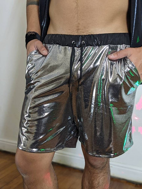 Silver Iridescent Shorts