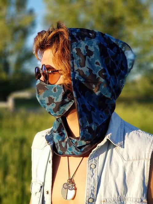 Blue Camo Hood