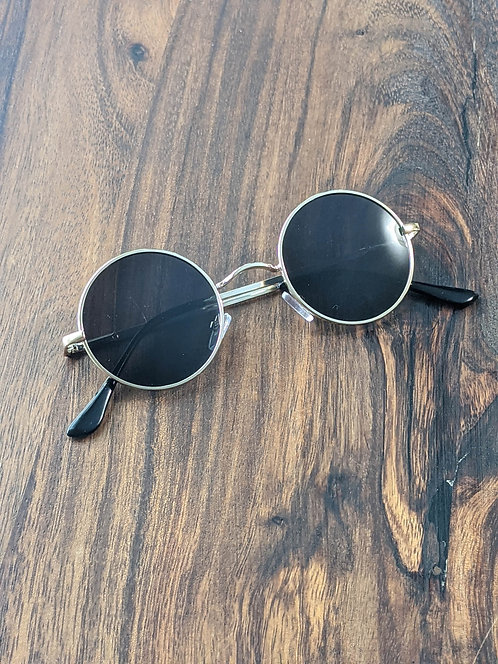 Black & Gold Round Sunglasses