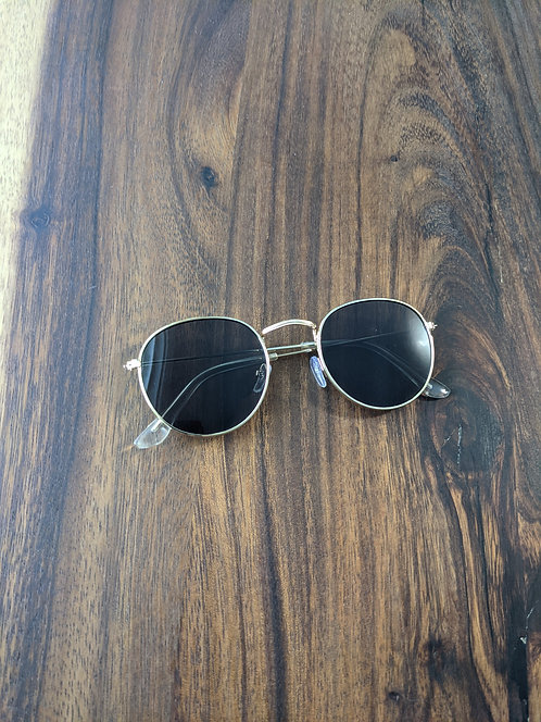 Black & Gold Vintage Frame Sunglasses