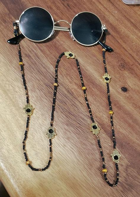 Gold Rim Glasses w/ Hamsa Chain