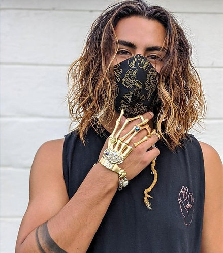 Gold Skulls & Snakes Mask