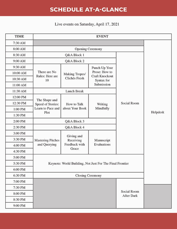 LUW Pre-Quill 2021 Schedule At-a-Glance