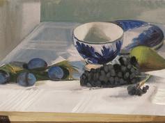 Fruits et bol bleu