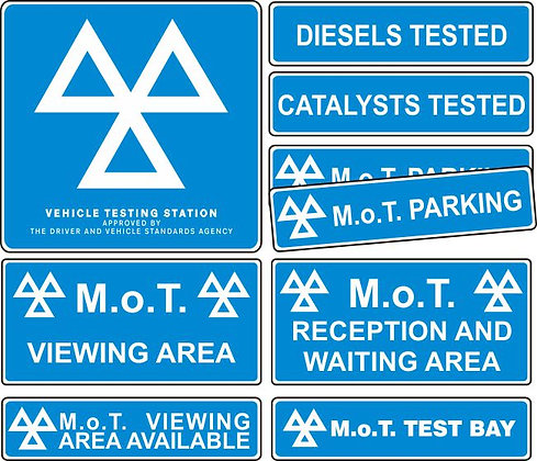 MOT SIGNS - INTERIOR AND EXTERIOR - 9 SIGN PACK