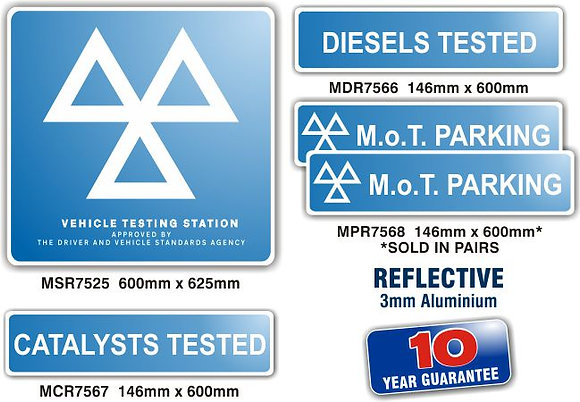 MOT SIGNS - REFLECTIVE EXTERIOR - 5 SIGN PACK