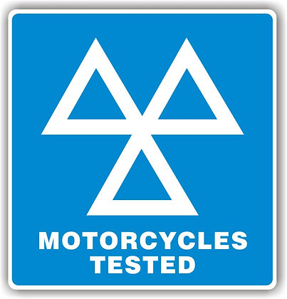 MOT SIGN - 3 TRIANGLES MOTORCYCLES TESTED