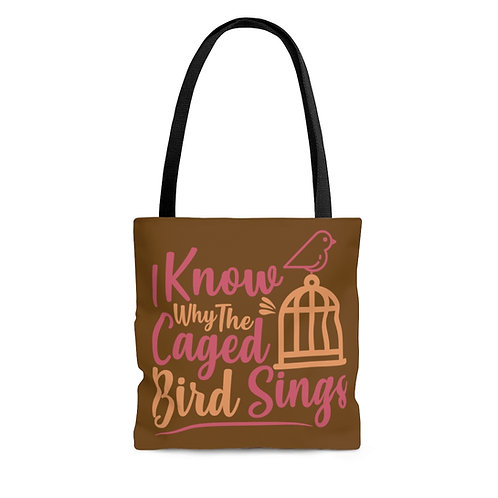 Caged Bird Tote in Brown