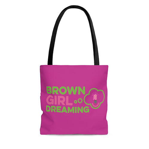 Brown Girl Dreaming Tote in pink