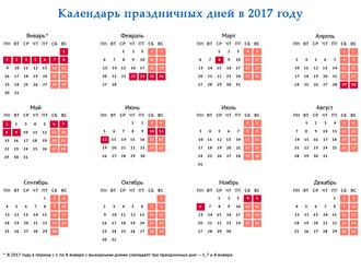 Перенос праздничных и выходных дней в 2017 году