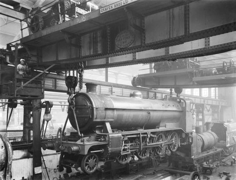 Overhead cranes at Doncaster railway works, 1919