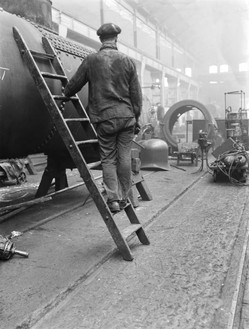 Worker at Doncaster railway works, 1930