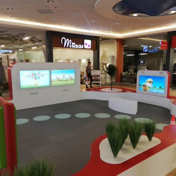 interactive screens for games in children area