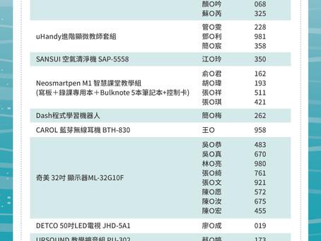 2020臺灣教育科技展- 教育家專屬填問卷抽大獎 得獎名單