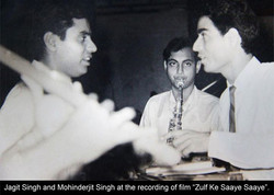With Jagjit Singh and Kaka at a recordin