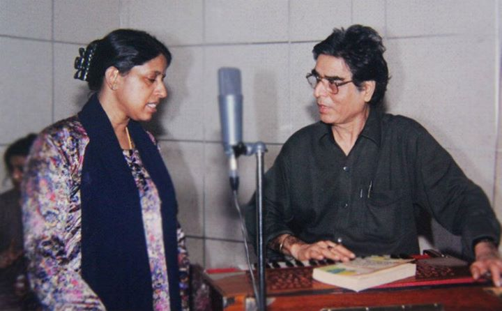 With Kavita Krishnamurthi at a recording