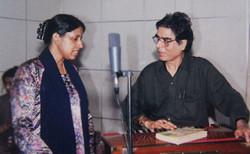 With Kavita Krishnamurthi at a recording