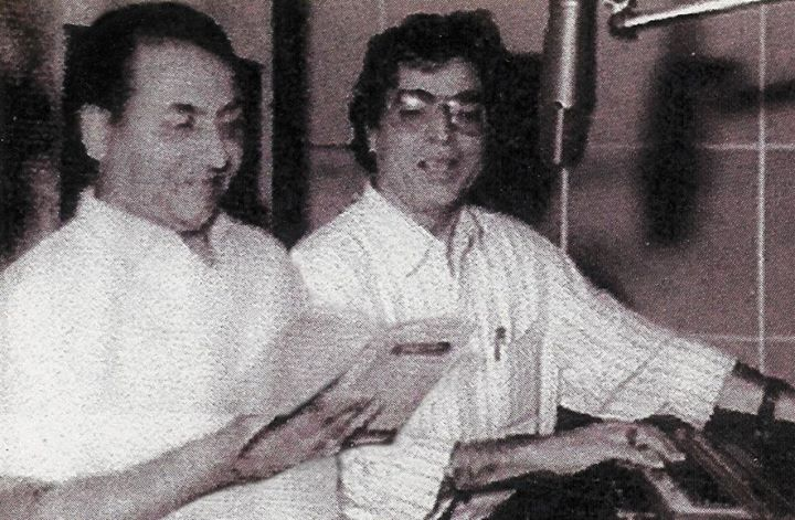 With Mohammad Rafi for film recording -P
